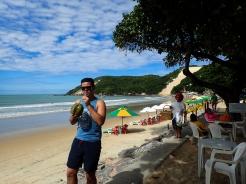 Duncan enjoying a coconut